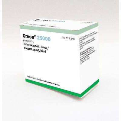 CREON 25 000 enterokaps, kova 2x50 kpl